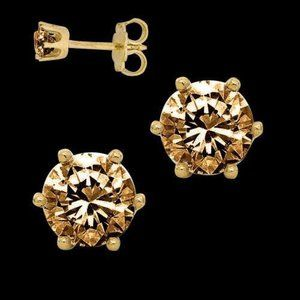1.50 Ct Diamonds Brown Stud Earrings Yellow Gold 1